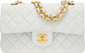 "Luxury Accessories:Accessories, Chanel White Quilted Lambskin Leather Small Double Flap Bag withGold Hardware. Very Good to Excellent Condition. 9""W..."