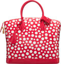 Luxury Accessories:Bags, Louis Vuitton Red & White Infinity Dots Monogram Vernis LeatherLockit MM Bag by Yayoi Kusama. Excellent Condition.13...