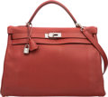 Luxury Accessories:Bags, Hermes 40cm Rouge Venetian Clemence Leather Retourne Kelly Bag withPalladium Hardware. M Square, 2009. Very Good to E...