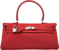 Luxury Accessories:Bags, Hermes 42cm Rouge Garance Clemence Leather JPG Shoulder Kelly Bagwith Palladium Hardware. M Square, 2009. ExcellentC...