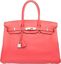Luxury Accessories:Bags, Hermes 35cm Bougainvillea Clemence Leather Birkin Bag with Palladium Hardware. N Square, 2010. Very Good Condition. ...