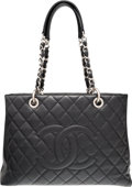 Luxury Accessories:Bags, Chanel Black Quilted Caviar Leather Grand Shopping Tote Bag withSilver Hardware. Very Good to Excellent Condition.13...