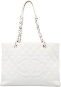 "Luxury Accessories:Bags, Chanel White Quilted Caviar Leather Grand Shopping Tote Bag withSilver Hardware. Very Good Condition. 13"" Width x10""..."