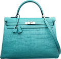 Luxury Accessories:Bags, Hermes 35cm Matte Blue Saint Cyr Alligator Retourne Kelly Bag with Palladium Hardware. X, 2016. Pristine Condition. ...