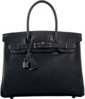 Luxury Accessories:Bags, Hermes Limited Edition 30cm So Black Calf Box Leather Birkin Bagwith PVD Hardware. O Square, 2011. PristineCondition...