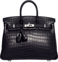 Luxury Accessories:Bags, Hermes 25cm Matte Black Nilo Crocodile Birkin Bag with PalladiumHardware. K Square, 2007. Very Good Condition.9....