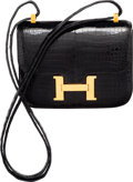 Luxury Accessories:Bags, Hermes 15cm Shiny Black Porosus Crocodile Micro Mini Constance Bagwith Gold Hardware. X Circle, 1994. Excellent Condition...