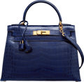 Luxury Accessories:Bags, Hermes 28cm Shiny Blue Saphir Caiman Crocodile Sellier Kelly Bagwith Gold Hardware. T Circle, 1990. Very GoodConditi...