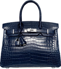 Hermes 30cm Shiny Blue Abysse Nilo Crocodile Birkin Bag with Palladium Hardware O Square, 2011 Very Good Con