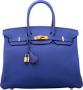 Luxury Accessories:Bags, Hermes Special Order Horseshoe 35cm Blue Electric & Orange HTogo Leather Birkin Bag with Gold Hardware. X, 2016.Pris...