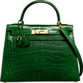 Luxury Accessories:Bags, Hermes 28cm Shiny Vert Emerald Alligator Sellier Kelly Bag withGold Hardware. Z Circle, 1996. Very Good to ExcellentCond...