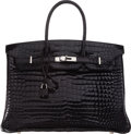 Luxury Accessories:Bags, Hermes 35cm Shiny Black Porosus Crocodile Birkin Bag with PalladiumHardware . M Square, 2009 . Good to Very Good Cond...