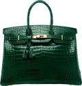"Luxury Accessories:Bags, Hermes 35cm Shiny Vert Fonce Porosus Crocodile Birkin Bag with Gold Hardware. K Square, 2007. Excellent Condition. 14"" Wid..."
