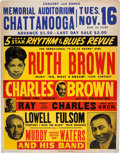 Music Memorabilia:Posters, Muddy Waters Memorial Auditorium Concert Poster (1954). Rare....
