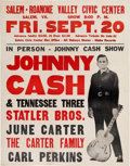 Music Memorabilia:Posters, Johnny Cash Salem-Roanoke Valley Civic Center Concert Poster(1968). Rare....