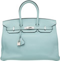 """Luxury Accessories:Bags, Hermes 35cm Ciel Swift Leather Birkin Bag with Palladium Hardware.M Square, 2009. Excellent Condition. 14"""" Width..."""