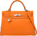 Luxury Accessories:Bags, Hermes 35cm Orange H Epsom Leather Retourne Kelly Bag withPalladium Hardware. N Square, 2010. Very Good toExcellent ...