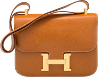 Hermes 23cm Natural Peau Porc Single Gusset Constance Bag with Gold Hardware Y Circle, 1995 Very
