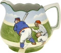 Baseball Collectibles:Others, Circa 1910 Baseball Scene Ceramic Pitcher. Originating from circa1910, this beautifully-crafted ceramic pitcher has a base...