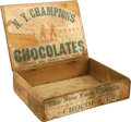 Baseball Collectibles:Others, Circa 1880 New York Champions Chocolate Box Amazing vintage woodenhumidor-style box dating from circa 1880 depicts a baseb...