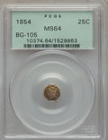 California Fractional Gold , 1854 25C Liberty Octagonal 25 Cents, BG-105, R.3, MS64 PCGS. PCGSPopulation (71/25). NGC Census: (16/14). . From The ...