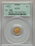 California Fractional Gold , 1853 $1 Liberty Octagonal 1 Dollar, BG-505, R.4, AU58 PCGS. PCGSPopulation (28/26). NGC Census: (7/14). . From The Tw...