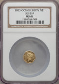 California Fractional Gold , 1853 $1 Liberty Octagonal 1 Dollar, BG-519, Low R.4, MS61 NGC. NGCCensus: (5/9). PCGS Population (5/36). . From The T...