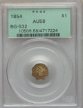 California Fractional Gold , 1854 $1 Liberty Octagonal 1 Dollar, BG-532, Low R.4, AU58 PCGS.PCGS Population (34/31). NGC Census: (7/20). . From Th...