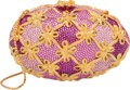 """Luxury Accessories:Accessories, Judith Leiber Full Bead Pink & Purple Crystal Egg Minaudiere Evening Bag. Very Good Condition. 6"""" Width x 4"""" Height x ..."""