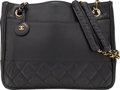 "Luxury Accessories:Bags, Chanel Black Quilted Lambskin Leather Shopping Tote Bag with GoldHardware. Fair Condition. 11"" Width x 9"" Height x2...."
