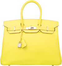 Hermes Limited Edition Candy Collection 35cm Lime Epsom Leather & Gris Perle Birkin Bag with Palladium Hardware