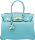 "Luxury Accessories:Bags, Hermes 30 cm Blue Atoll Clemence Leather Birkin Bag with GoldHardware. T, 2015. Pristine Condition. 12"" Width x8..."