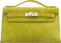 Hermes Vert Chartreuse Veau Doblis Suede Kelly Pochette Bag with Palladium Hardware H Square, 2004 <