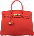 "Luxury Accessories:Bags, Hermes 35cm Vermillion Togo Leather Birkin Bag with Gold Hardware.T, 2015. Pristine Condition. 14"" Width x 10"" Height x 7..."