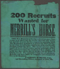 Military & Patriotic:Civil War, Civil War: Important Recruiting Broadside Seeking to Protect the Mail and Emigrant Route from Missouri to California. ...