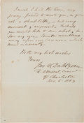Autographs:Military Figures, Rear Admiral John A. Dahlgren: A War-date Note Describing an Attempted Re-taking of Fort Sumter from the Confederates....