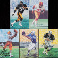 Football Collectibles:Others, Football Greats Signed Goal Line Art Cards Lot of 5....