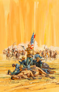 Pulp, Pulp-like, Digests, and Paperback Art, Harry Schaare (American, 1922-2008). Custer's Last Stand.Gouache on board. 28 x 18.25 in.. Signed lower right. ...