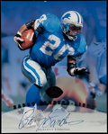 Football Collectibles:Photos, Barry Sanders Signed Leaf Oversized Card....