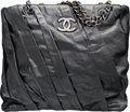 "Luxury Accessories:Bags, Chanel Black Pleated Leather Tote Bag with Silver Hardware. VeryGood to Excellent Condition. 12.5"" Width x 12"" Height..."