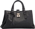 "Luxury Accessories:Accessories, Bottega Veneta Black Woven Leather Medium Roma Compartment Totewith Gun Metal Hardware. Pristine Condition. 13""Width..."