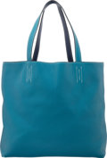 Luxury Accessories:Bags, Hermes Blue Izmir & Blue Saphir Clemence Leather Double Sens GM Reversible Tote Bag. Q Square, 2013. Very Good Conditi...
