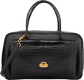 Luxury Accessories:Bags, Hermes Shiny Black Crocodile & Ardennes Leather Lorraine Bag with Gold Hardware. X Circle, 1994. Very Good Condition. ...
