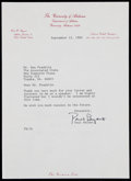 Football Collectibles:Others, 1982 Paul Bear Bryant Signed Letter....