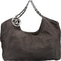 "Luxury Accessories:Bags, Chanel Gray Caviar Leather Shoulder Bag with Silver Hardware.Good to Very Good Condition. 16"" Width x 11"" Height x8""..."