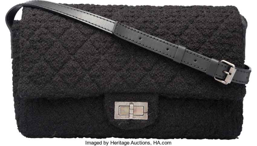 2b268a7b5cb4 Luxury Accessories:Bags, Chanel Black Quilted Wool Reissue Flap Bag with  Gunmetal Hardware.