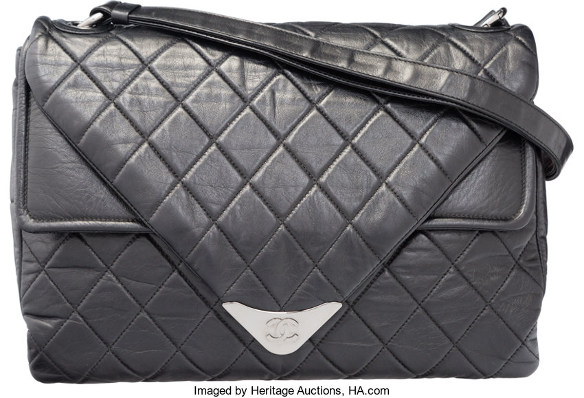 Chanel Black Quilted Distressed Lambskin Leather Shoulder Bag  e18ad72edade2