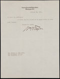 Miscellaneous Collectibles:General, 1929 William H. Taft Signed Letter....