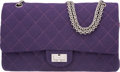 "Luxury Accessories:Bags, Chanel Purple Quilted Wool Reissue Jumbo Double Flap Bag withGunmetal Hardware. Pristine Condition. 12"" Width x 8""He..."