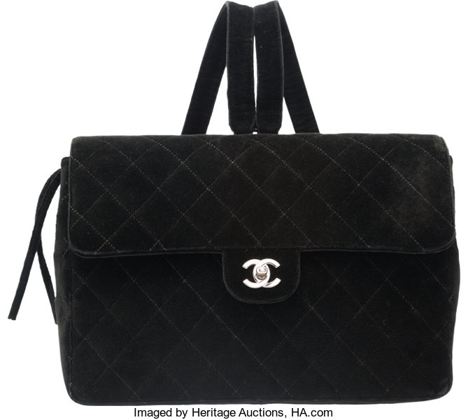 Chanel Black Quilted Velvet Backpack Bag with Silver Hardware. Very ... 3d4f86d0e775d